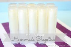 Homemade Chapstick. - makes 12 tubes 3 Tablespoons. beeswax pellets 3 vitamin E capsules 4 Tablespoons. coconut oil 3 Tablespoons. olive oil 20-24 drops essential oil or flavor oils