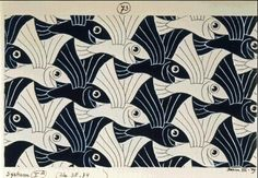 m c escher gallery: tessellation - black & white flying fish