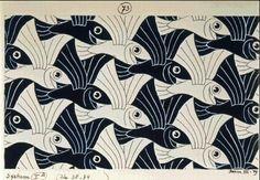 m c escher gallery: tessellation - black & white flying fish