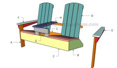 This step by step woodworking project is about double adirondack chair plans. This article features detailed instructions for building nice double adirondack chairs with table, ideal for any backyard. Adirondack Chair Plans Free, Adirondack Chairs, Outdoor Chairs, Patio Chairs, Outdoor Glider, Adirondack Furniture, Wooden Chairs, Bag Chairs, Build A Playhouse