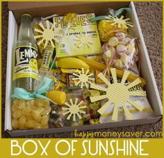 Send a box of sunshine.Encourage someone by brighten up their day. Send a Box of Sunshine! Basically you can take anything in the color yellow and add it to this box. Cut out a few paper sunbeams, print out a little note and you have a Box of Sunshine! Little Presents, Little Gifts, Cute Gifts, Best Gifts, Cadeau Surprise, Box Of Sunshine, Diy Cadeau, Get Well Gifts, Ideias Diy