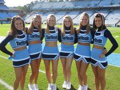 Buccaneers Cheerleaders, Football Cheerleaders, Carolina Blue, North Carolina, Girly Games, College Cheer, Cheerleading Uniforms, Cheer Outfits, Tar Heels