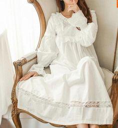 Günstige Reine Royal Memory Aus Reiner Baumwolle Nachthemd Prinzessin Langarm Nachthemd Damen Nachtwäsche Weiß frauen Nachtwäsche AW313, Kaufe Qualität Nachthemden & Sleep direkt vom China-Lieferanten: