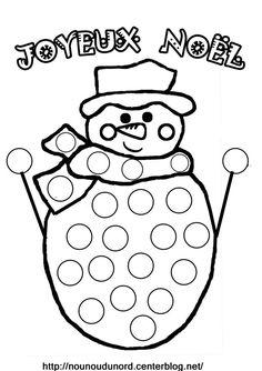 Coloriage à gommettes OU jeu de dé et chunki bonhomme de neige