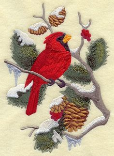 Cardinal in Berries and Boughs Machine Embroidered Quilt Block Usaemb | eBay