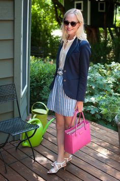 Last Midwest Post: Navy Blazers, Striped Skirts and (Shocking) the Pink Bag - Kelly in the City