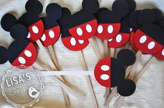 Mickey Mouse Cupcake Toppers, Handmade by Lisa. $9.00, via Etsy.