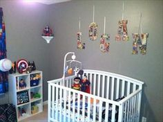 Cool #Superhero theme nursery. Click for more DIY pics. #Baby #Nursery #DIY