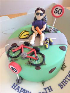 Bicycle cake Bicycle Cake, Bike Cakes, Mountain Bike Cake, 50th Birthday, Birthday Cake, Camping Cakes, 18th Cake, New Cake, Celebration Cakes