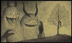 Don Kenn e seus monstros em post-it com esferográficas