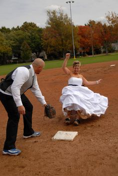Having fun trashing the dress on the softball field.