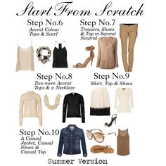 """Start From Scratch Steps 6 to 10 - Summer"" by charlotte-mcfarlane Core Wardrobe, Wardrobe Basics, New Wardrobe, Capsule Wardrobe, Wardrobe Ideas, Capsule Outfits, Fashion Capsule, How To Have Style, My Style"