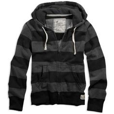 AE Men's Rugby Stripe Full Zip Hoodie (Charcoal Heather Grey)