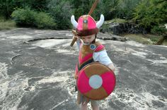 Viking Shield - PINK and BROWN -  Kid Costume, Adventure Gear by TheTreeHouseKid on Etsy