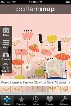 31.3.14 Today's Featured pattern is Elizabeth Olwen's 'In Bloom' Wallpaper.  See details and colorways on the free patternsnap iphone/iPad app for interior wallpaper and fabric patterns : www.patternsnap.com