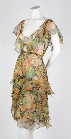 Silk chiffon dress | Leslie Hindman Auctioneers | 1920s