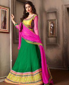 Buy Bewitching Green Lehenga Choli online at  https://www.a1designerwear.com/bewitching-green-lehenga-choli-7  Price: $76.54 USD