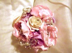 Brooch Bouquet Bridal Wedding Fabric Flower by AfternoonDelite, $110.00