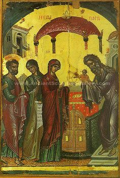 Orthodox icon of the Presentation of our Savior Jesus Christ into the Temple Contemporary icon, Greece Note: the sizes are not exact. Orthodox Catholic, Orthodox Christianity, Religious Icons, Religious Art, Christian Church, Christian Faith, Jesus In The Temple, Russian Icons, Orthodox Icons
