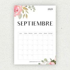 calendario septiembre imprimir 2020 Diy Agenda, Agenda Planner, Bullet Journal School, Bullet Journal Inspo, Printable Calendar 2020, Printable Planner, Planning Calendar, Bullet Journal Printables, Sunflower Wallpaper