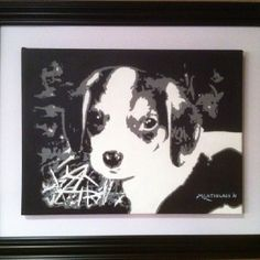 """""""Digger"""" Custom hand painted 12""""x16""""  black & white acrylic portrait on stetched canvas by renowned artist Mike Latiolais. www.ArtByLatiolais.com"""
