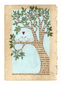 collage illustrations- love birds by Carambatack on Etsy Book Page Crafts, Book Page Art, Kunstjournal Inspiration, Art Journal Inspiration, Altered Books, Collage Art, Tree Collage, Collage Illustrations, Watercolor Techniques