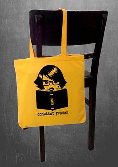 Stephen King  Constant Reader   tote bag  book bag  by BRANDED, $14.75