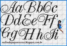 Cross-stitch Script ABCs, part 1... Detalhes que Encantam: Toalha de Lavabo Bombardão e Monograma