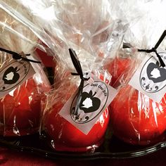 Regina's Poison Apples. Candy Apple party favors for Once Upon a Time birthday party theme. #ouat