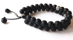 Shamballa Black Men Bracelet, Men Jewelry, Double Bracelet