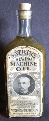 RARE Original Watkins Sewing Machine Oil Antique Bottle w Label Contents   eBay