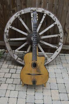 Beautifully distressed gypsy jazz guitar