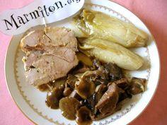 Rôti de veau en cocotte aux champignons - Recette de cuisine Marmiton : une recette
