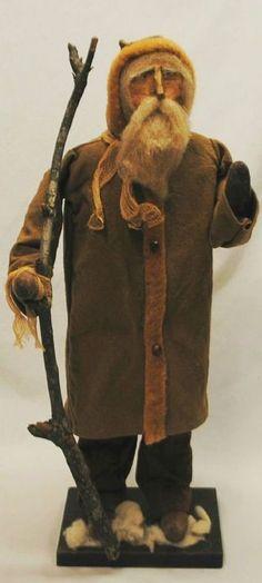 Arnette's Country Store Folk Art Old World Primitive Santa Claus Doll