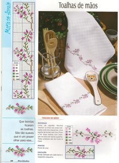 Delicadas  flores no gráfico de ponto cruz,  para você bordar e fazer barradinhos em toalhinhas de mãos e até em guardanapos.