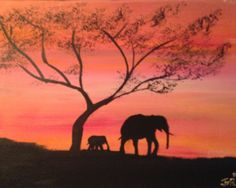 "African Safari Acacia Tree Elephant Animal Acrylic Art Painting: African Safari Elephant and Baby 11x14x.75"" by J. Von Ryan. $60.00, via Etsy."