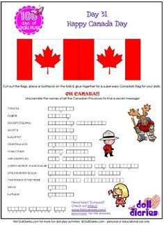 Canada Day printable word puzzle is day 31 of 100 Days of Doll Play Canada Day 2017, Canada Day 150, Happy Canada Day, O Canada, Canada Travel, Girl Scout Activities, Senior Activities, Canada Independence Day, Canada Day Crafts
