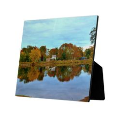 Boat Landing Reflections Custom Display Plaque by KJacksonPhotography --  Taken 09.30.2014 Cloud cover accentuates the colorful autumn reflections in the Penobscot River at the N. 4th St. Boat Landing in Old Town, Maine.PC213.251 #nature #maine #photography #autumn #river #plaque #plaques
