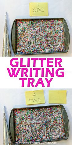 Confetti Writing Tray – HAPPY TODDLER PLAYTIME Here is a fun writing tray activity perfect for preschoolers and kindergartners when they could use a little glitter!