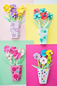 paper flowers, paper roses, mothers day crafts for kids, spring crafts. Mothers Day Crafts For Kids, Paper Crafts For Kids, Crafts For Kids To Make, Art For Kids, Diy And Crafts, Craft Kids, Diy Paper, 3d Paper Projects, 3d Craft