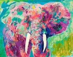 leroy neiman nieman charging bull elephants safari africa