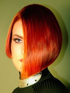 Asymmetrical bob, beautiful red hair, one eye peeking out.Your Si… Asymmetrical bob, beautiful red hair, one eye peeking out.Your Sissy boi may have to be restrained the first time he recieves this look! Shaved Bob, Shaved Hair, Hair Dye Colors, Cool Hair Color, Short Bob Hairstyles, Cool Hairstyles, Bob Haircuts, Cut My Hair, Hair Cuts
