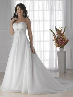 A-Line Princess Strapless Sweetheart Empire Satin Chiffon Wedding Dress - Style WD5188