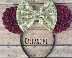 Burgundy and Gold Mickey Mouse Ears, Burgundy Floral Minnie Mouse Ears, Belle Mouse Ears Headband, Minnie Ears, Burgundy Flower Mouse Ears