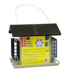$37.70-$46.49 Stokes Select 38073 Large Hopper Feeder with Suet Holders - The Stokes Select Large Hopper Feeder with two Suet holders is engineered with the best features for the bird feeding enthusiast. This feeder is make with 100-Percent recycled material. The large hopper feeder lives up to its name with the capacity ot hold mor seed than a traditional wood feeder. Built-in socket for bird po ...