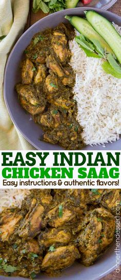 Chicken Saag - Dinner, then Dessert - Chicken Saag is a classic Indian curry Chicken recipe with Spinach and cream that is stewed together until thick and creamy. Spinach Indian Recipes, Easy Indian Recipes, Asian Recipes, Cooked Spinach Recipes, Chicken Spinach Curry, Mild Chicken Curry Recipe, Chicken Breast Curry, Healthy Recipes, Indian Curry