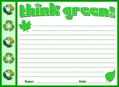 "March is a great time to your students to ""Think Green.""  Use these creative writing worksheets to have children write about how they can ""Think Green"" and be more environmentally friendly.  This worksheet set comes with a matching bulletin board display banner."
