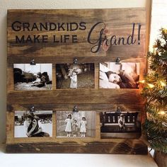 Best Christmas gifts for grandparents!! Grandkids Photo Displays in 3 different background colors- dark stain, gray barnwood, and distressed white, and they are the perfect way to keep the pics of the grandkids up to date! Shop HavenMadeDesigns.com