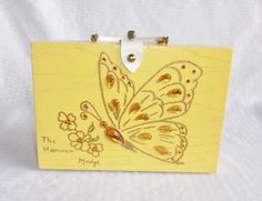 60's 70's Vintage Yellow Wood Box Purse with by MyVintageHatShop