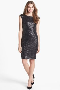 Xscape Faux Leather Sequin Sheath Dress